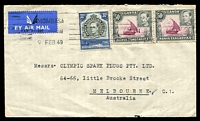 Lot 3782:1949 (Feb 9) use of 30c & 50c pair on air cover to Melbourne.