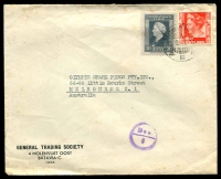 Lot 19958:1948 (Sep 15) use of 10c scarlet & 30c grey on air cover from Batavia to Melbourne, minor faults.