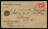 Lot 772:A.I.F. Army P.O. 'A.I.F. ARMY P.O./1MY44/49.' (Alice Springs, NT) on 2½d red KGVI on cover to Sydney.