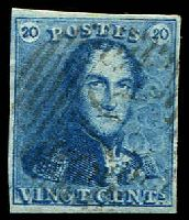 Lot 11618:1849 SG #2 20c blue plate I, 4 even margins, Cat £70, cancelled with '76' of Louvain.