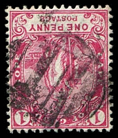 Lot 3518:1: rare vertical bars of Cape Town on 1893 1d carmine. [Rated 500 by Putzel.]