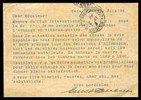 Lot 17485 [2 of 2]:1948 Von Stephen Mi #P965 12(pf) greyish turquoise, use from Gera to Saigon, uprated stamps removed, printed message in French asking about exchanging stamps. Unusual.