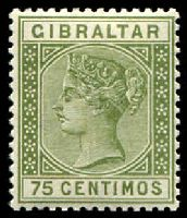Lot 17588:1889-96 Spanish Currency SG #29 75c olive-green, Cat £32.