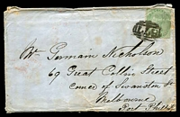 Lot 11122 [1 of 2]:1855-57 No Corner Letters SG #72 1/- green on cover to Melbourne, some aging evident, Cat £425, cancelled with '877' of Whitehaven.