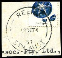 Lot 4423:Streaky Bay: 'RELIEF/12DE74/57/STH AUST' on 10c (cut-through). [Identification made by previous owner.]  PO 1/10/1862.