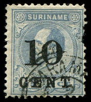 Lot 19962:1898 Surcharges SG #73a 10c on 25c ultramarine P11½x12, damaged at right, Cat £800.