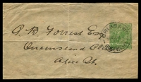 Lot 3087:1915-18 ½d Green KGV Sideface BW #W3 No Text, address piece, neat 1917 (Dec 10) used from Brisbane to Alice.