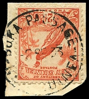 Lot 2618:Buka Passage (2): 'BUKA PASSAGE/2SE33/N[EW G]UINEA' on 2d Undated Bird.  PO c.1925; closed c.-/1/1942.