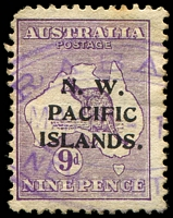 Lot 9137:Rabaul: violet triple-oval 'RABA[UL]/JUN 8 -1[?]/NEW BRIT[AIN]' on NWPI 9d 1st Wmk [2L2], rounded corner.  Renamed from Simpsonhafen PO c.-/4/1910; closed 23/1/1942.