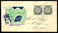 Lot 3177:Royal 1954 ANARE pair on blue & green illustrated cover, Melbourne cds of 17NO54, hand addressed.
