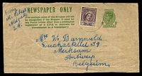 Lot 3092:1942-50 1½d Green KGVI Sideface BW #W23 163mm wide address piece, uprated with 1d purple-brown QE for 1947 use from South Aust to Belgium