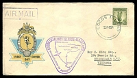 Lot 2611:1955 use of 1/- Lyre on inaugural official FDC to Vic, cancelled with 'COCOS ISLAND/23NO55' (A1), with violet cachet (A1) and violet boxed 'AIR MAIL' (B1) in TLC.