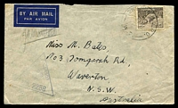 Lot 750:2nd Bde. H.Q.P.O. '2ND BDE.H.Q.P.O./8JY41/W.2.' (LRD - Khassa, Palestine) on 9d Platypus on air cover to NSW, triangle 'PASSED