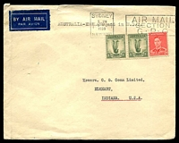 Lot 3061 [1 of 2]:1938 (Dec 9) use of 2d KGVI & 1/- Lyre pair on cover to USA, tear at top. [2/2d was the rate for Australia to England by air, England USA by sea and air within the USA.]