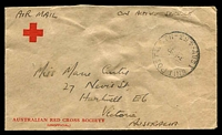 Lot 756:Aust Unit Postal Stn 'AUST UNIT POSTAL STN/3AU52/453' (Kure, Japan), on 3d brown KGVI on Red Cross cover to Melbourne.
