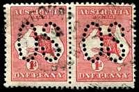 Lot 140:1d Red Die I [BR33] Broken shading line above T of AUST - State II broken base of 2nd N of PENNY left unit of perf 'large 'OS' pair.