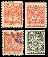 Lot 13822:1898 Filipino Revolutionary Government SG #239,P241 2c red x2 (plus used with faults) & imperf 1m black.