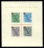 Lot 8428:1949 Red Cross: Mi #Block 2.I imperf MS Type I, MNG as issued, Cat  €110.