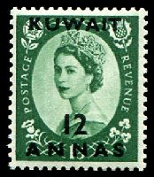 Lot 12983:1956 QEII SG #118 12a on 1/3d, Cat £10.