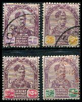 Lot 9737:1891-94 Sultan Abu Bakar SG #21-3,25 1c, 2c, 3c (mint) & 5c, Cat £22.