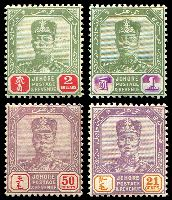 Lot 9738:1922-41 Sultan Sir Ibrahim Wmk Mult Script CA SG #115,119-21 21c, 50c, $1 & $2, Cat £19.