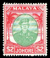 Lot 9740:1949-55 Sultan Sir Ibrahim Wmk Mult Script CA SG #146 $2 green & scarlet, Cat £32