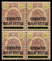 Lot 12375:1900 'FEDERATED/MALAY STATES' on Perak SG #9 5c dull purple & olive-yellow block of 4 (2 units MUH), gum a little aged, Cat £120.