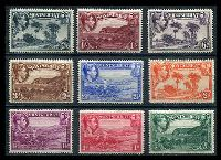 Lot 19817:1938-48 KGVI Pictorials SG #101a-9a ½d to 2/6d set of P14 issues, Cat £39. (9)