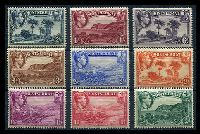 Lot 19815:1938-48 KGVI Pictorials SG #101-9 ½d to 2/6d set of P13 issues, Cat £172. (9)