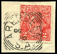 Lot 6853:Aberdeen: 27mm squared-circle 'ABERDEEN/OC13/30/S_A' on 2d red KGV.  PO c.1874; renamed Burra North PO 1/12/1939.