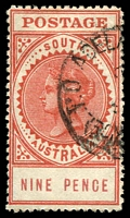 Lot 1405:1904-11 Thick 'POSTAGE' Wmk Crown/SA (Close) Perf 12 SG #286b
