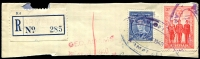 Lot 1828:Armadale: WWW #75 2 strikes violet triple-oval 'POST OFF[ICE]/16OCT1940/ARMADALE' (LRD), on 2d AIF & 3d blue KGVI on large piece with blue provisional registration label. [Rated 5R]  PO 2/10/1884; LPO 14/2/1994.