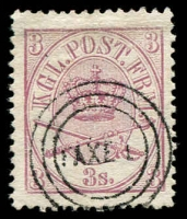 Lot 10216:1864-70 Large Oval Perf 13x12½ SG #24 3s mauve, 3-ringed 'FAXE L' cancel of Faxe Ladeplads (used 1861-67), Cat £90.