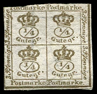 Lot 3075 [2 of 2]:1857 Quarter Stamp Wmk Posthorn Imperf unissued 4/4ggr ochre-brown/white x2 shades, both with faults