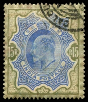Lot 9176:1902 KEVII Defins SG #146 15r blue & olive-brown, slightly grubby, Cat £55