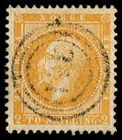 Lot 20365:1856-60 King Oscar I SG #5 2sk deep brown-orange, light '351' cancel of Önæs, Cat £190.