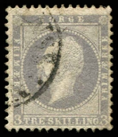 Lot 20369:1856-60 King Oscar I SG #6 3sk lilac, slightly grubby, Cat £95.