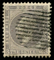 Lot 20367:1856-60 King Oscar I SG #6 3sk lilac, 11-bar gridiron cancel, Cat £90.