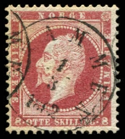 Lot 20370:1856-60 King Oscar I SG #10 8sk lake, Dramen cancel, Cat £90.