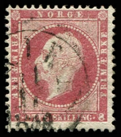 Lot 20371:1856-60 King Oscar I SG #11 8sk dull lake, Cat £50.