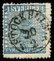 Lot 21213:1855-58 Arms SG #2a 4sk blue, Cat £130.