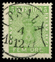 Lot 21215:1858-72 New Currency SG #6b 5ö yellow-green, Cat £24.