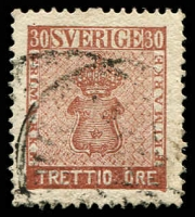 Lot 21216:1858-72 New Currency SG #10 30ö red-brown, Cat £44.