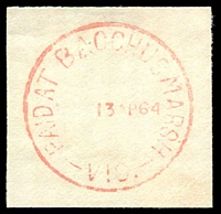Lot 1853:Bacchus Marsh: WWW #610E red 'PAID AT BACCHUS MARSH/    13AP64/VIC.', (time? turned off) on piece. [Rated 3R]  Renamed from Ballan PO 1/7/1850.