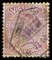 Lot 1636:Lourenco Marques: hexagonal arrival on 2d violet 'POSTAGE', some toning.