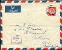 Lot 3835:1954 (Sep 11) inwards RAAF concession airmail from Malta, GB 2½d red QEII cancelled with double-circle 'FIELD POST OFFICE/11SP/54/266' (Luqa), boxed 'R.A.A.F./AIR MAIL/TO/HOMELAND' on face. Rare.