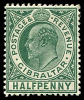 Lot 17590:1906-11 KEVII New Colours SG #66 ½d blue-green, Cat £15.