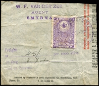 Lot 21626:Fixed Fee: 1900 style 1pi violet with large tughra on part document paying £3/7/1 for freight at Smyrna.