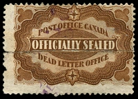 Lot 2733:1879 Officially Sealed brown, Unitrade #OX1, two halves rejoined.