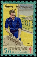 Lot 17:France 1947 Tuberculosis: 50fr 'large stamp' in original packet, fair condition.